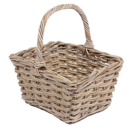 Square Flower Basket with High Handle in Kooboo Grey